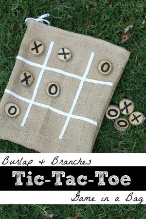 This makes a great gift! Now to find that branch...Burlap and Branches Tic-Tac-Toe Game in a Bag