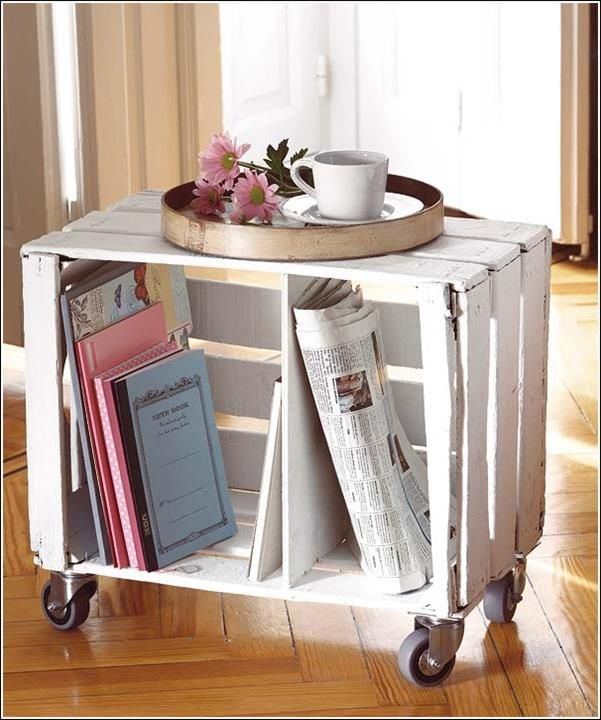 Ideas For Repurposing Old Crates  -  End Table with Wheels (michael's crates)