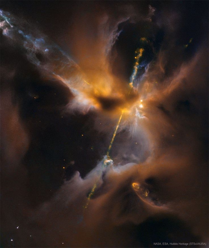 APOD: Duel Particle Beams in Herbig-Haro 24. Image Credit: NASA, ESA, Hubble Heritage (STScI/AURA)/Hubble-Europe Collaboration;  Acknowledgment: D. Padgett (NASA/GSFC), T. Megeath (U. Toledo), B. Reipurth (U. Hawaii). This might look like a double-bladed lightsaber, but these two cosmic jets actually beam outward from a newborn star in a galaxy near you. This stunning scene spans about half a light-year across Herbig-Haro 24, some 1,300 light-years away in the Orion B cloud complex.
