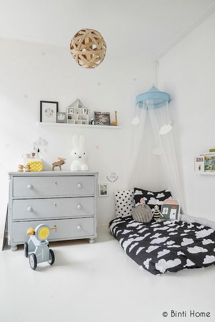 the boo and the boy: eclectic kids' rooms  LOVE neutral kids' rooms. Modern, gray, black, pops of color. Mix of edgy and classic.