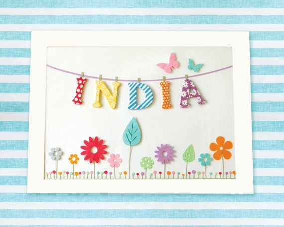Personalised Custom Made Baby or Child Name Art Print by MrsPeabod