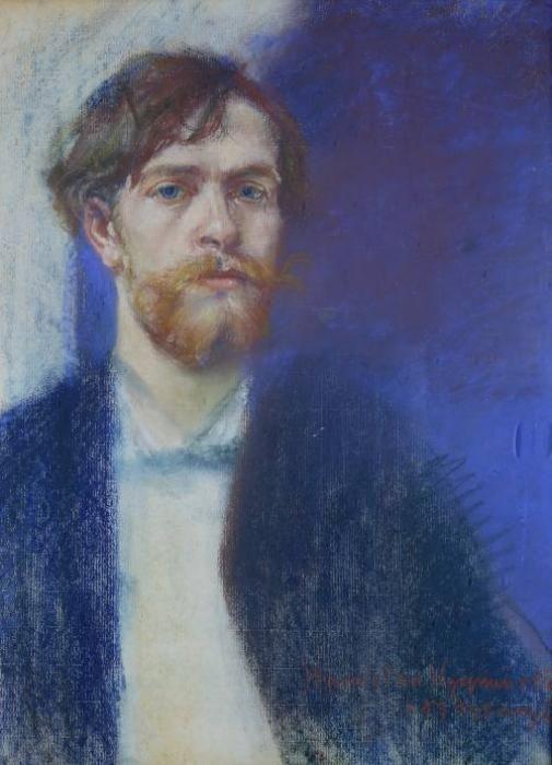 Stanisław Wyspiański (Polish, 1869-1907), Self-portrait in Sapphire Blue, 1894. Pastel on paper, 56.5 x 45cm.
