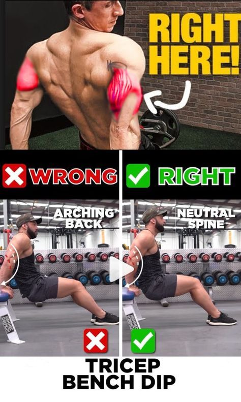 tricep workout wrong vs right tricep bench dip pinterest