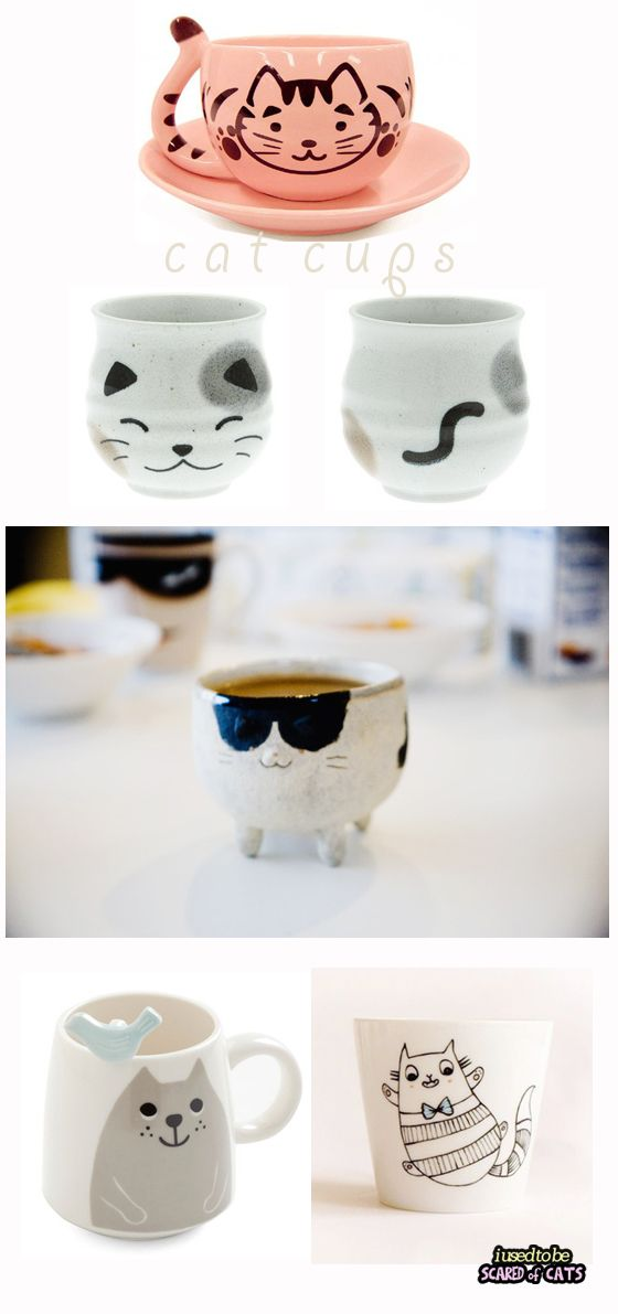 A cute selection of cat cups - I USED TO BE SCARED OF CATS