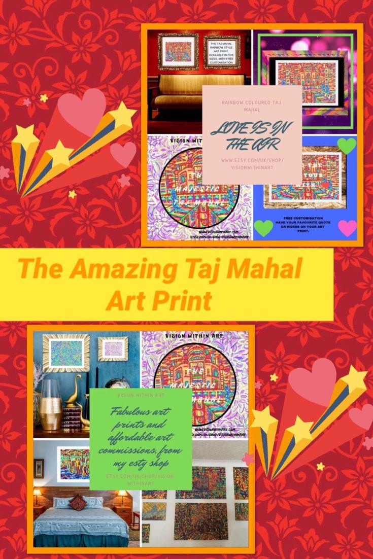 Urban Landscape Art of Taj Mahal Print, Rainbow Wall Art Decor ...