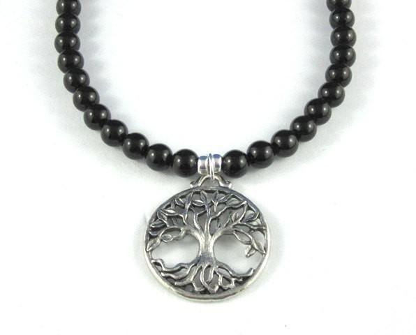 Tree of Life Pendant, Onyx Gemstone Necklace
