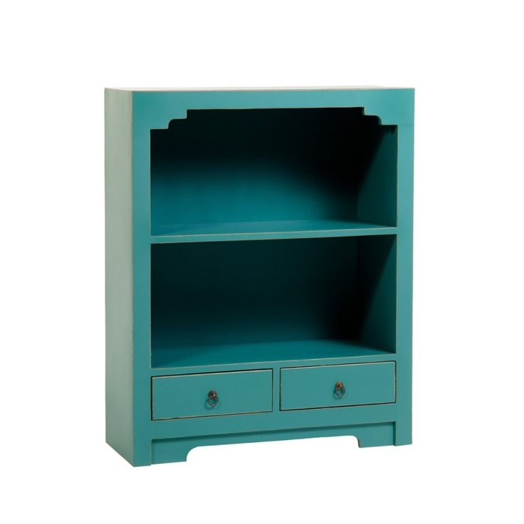The Nanjing Aged Teal Wooden Two Drawer Shelf Low Bookcase Features A Chinese Inspired Design