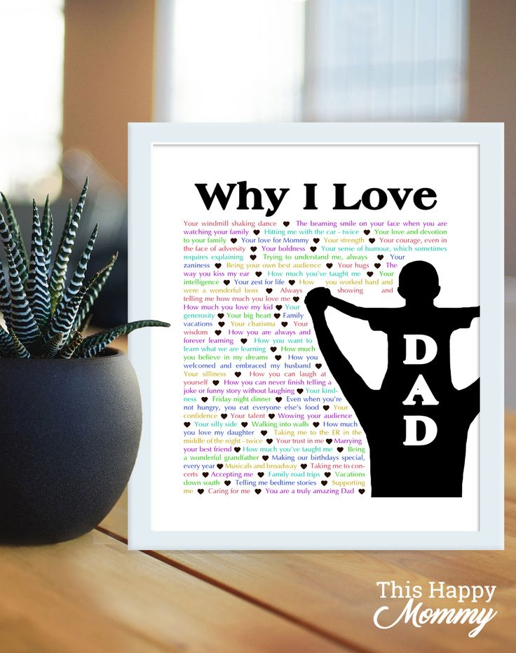 Why I Love Dad -- With one special day to celebrate Dad, tell him all the reasons that you love him this Father's Day. Available with a silhouette of a dad holding either a son or a daughter on his shoulders. http://thishappymommy.com/2017/06/09/why-i-love-dad/
