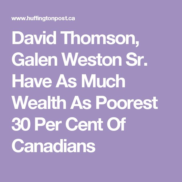David Thomson, Galen Weston Sr. Have As Much Wealth As Poorest 30 Per Cent Of Canadians