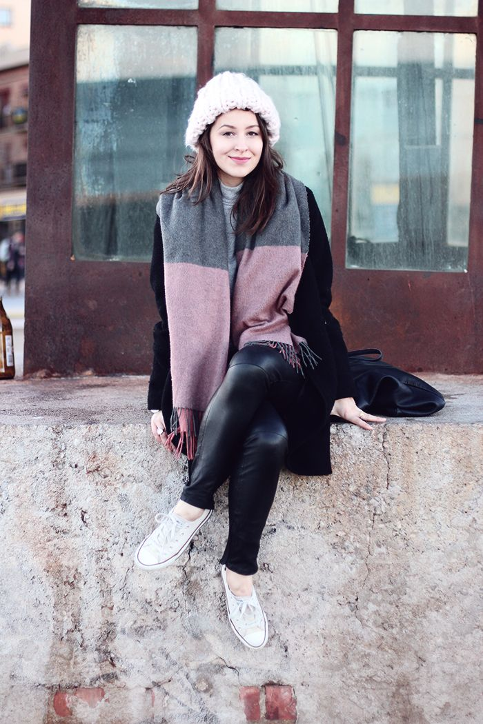 winter outfit with tartan scarf