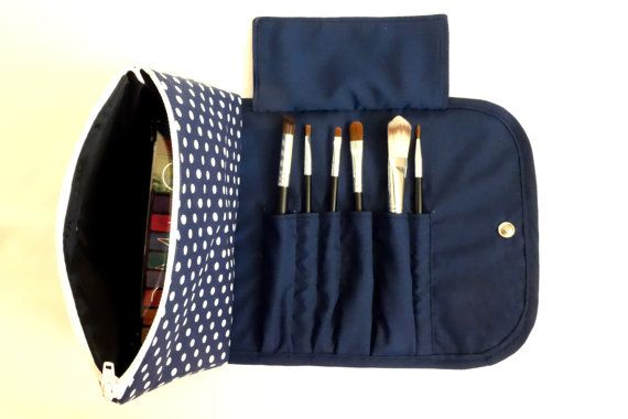 Blue Spotty Large Makeup Bag with a Brush Holder Flap and Snap Button.
