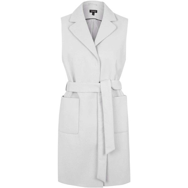 TopShop Sleeveless Belted Coat ($29) ❤ liked on Polyvore featuring outerwear, coats, jackets, pale grey, topshop, sleeveless coat, belt coat, belted coat and coat with belt