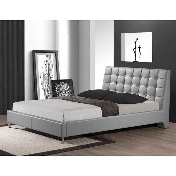 baxton studio zeller gray modern bed with upholstered headboard queen size