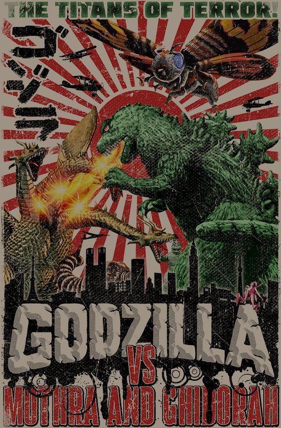 Vintage Sci-Fi Poster Cult Movie Poster Classic Movie GODZILLA MOVIE POSTER