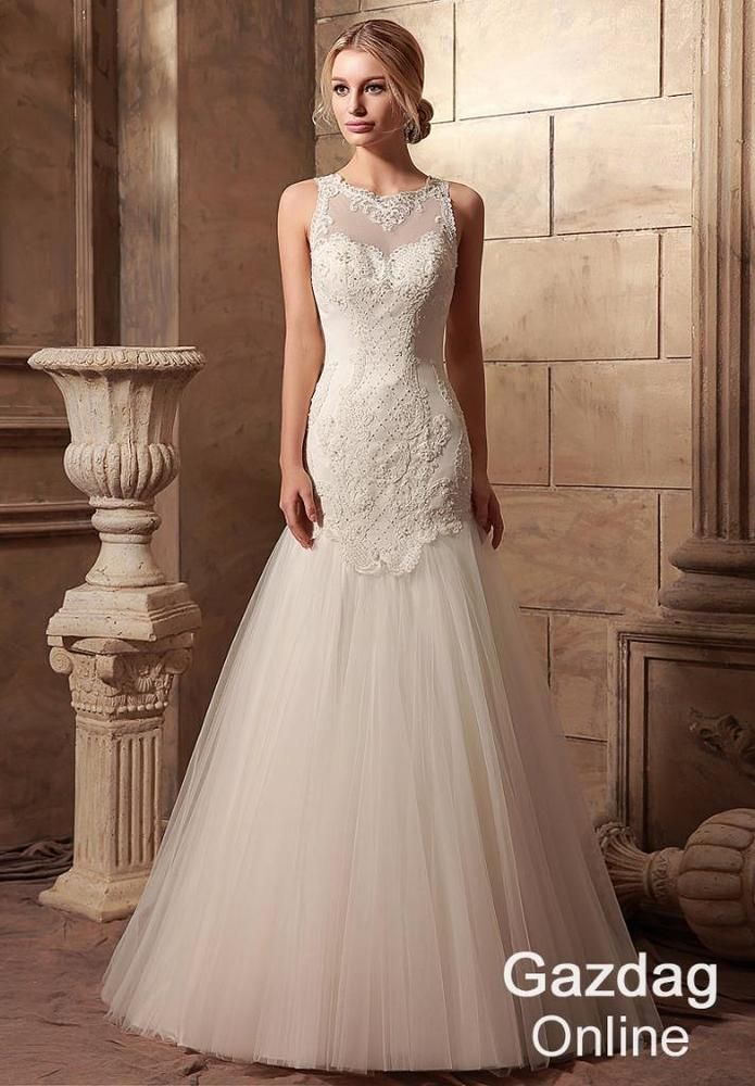 Helen Fontaine A-line Wedding Dress Delicate Embroidered Lace Bridal Gown #HelenFontaine #Aline