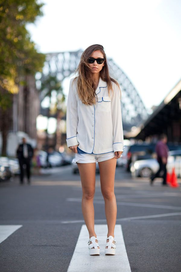 Rumi Neely wears a PJ top with white accents.