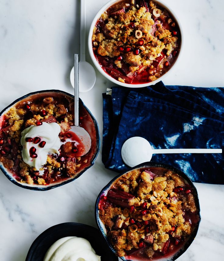 This is a crumble at its simplest - the vibrant rhubarb stalks and pomegranate seeds do all the tantalising talking here.