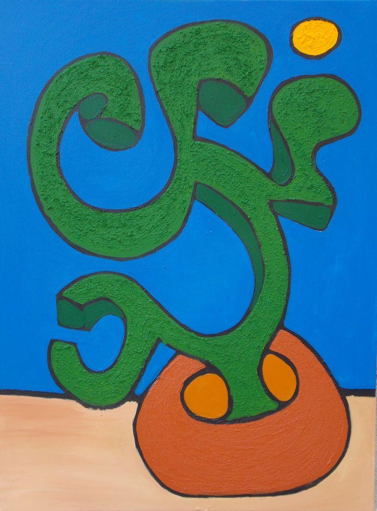 """Cactus"" 36in x 48in Framed Acrylic on Canvas 2013 #MalikAlex"