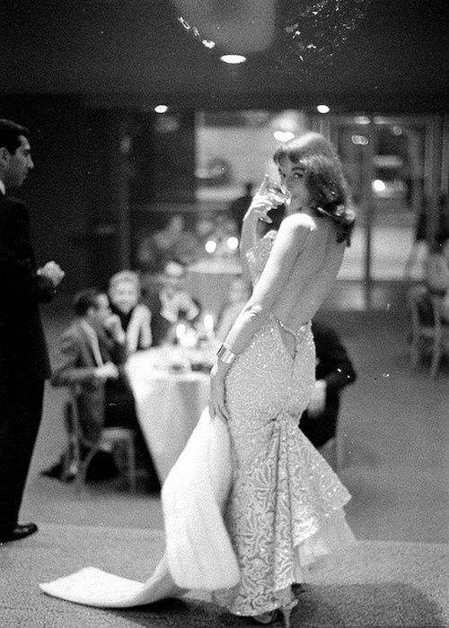 Actress and pinup Vikki Dougan, 1950s.Love the drape and beading of the dress.