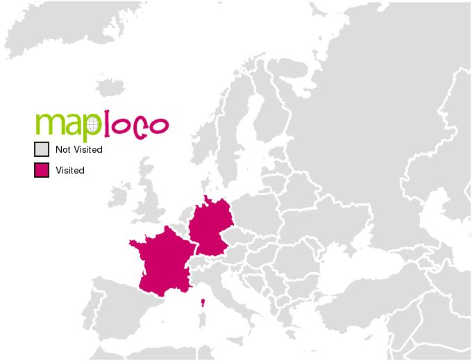 Visited European Countries Map - Create a Map of all the places you've been