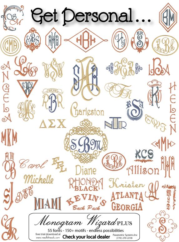 Monogram Wizard Plus ideas.  Click on a monogram and it will take you to a page that tells you how to do it.