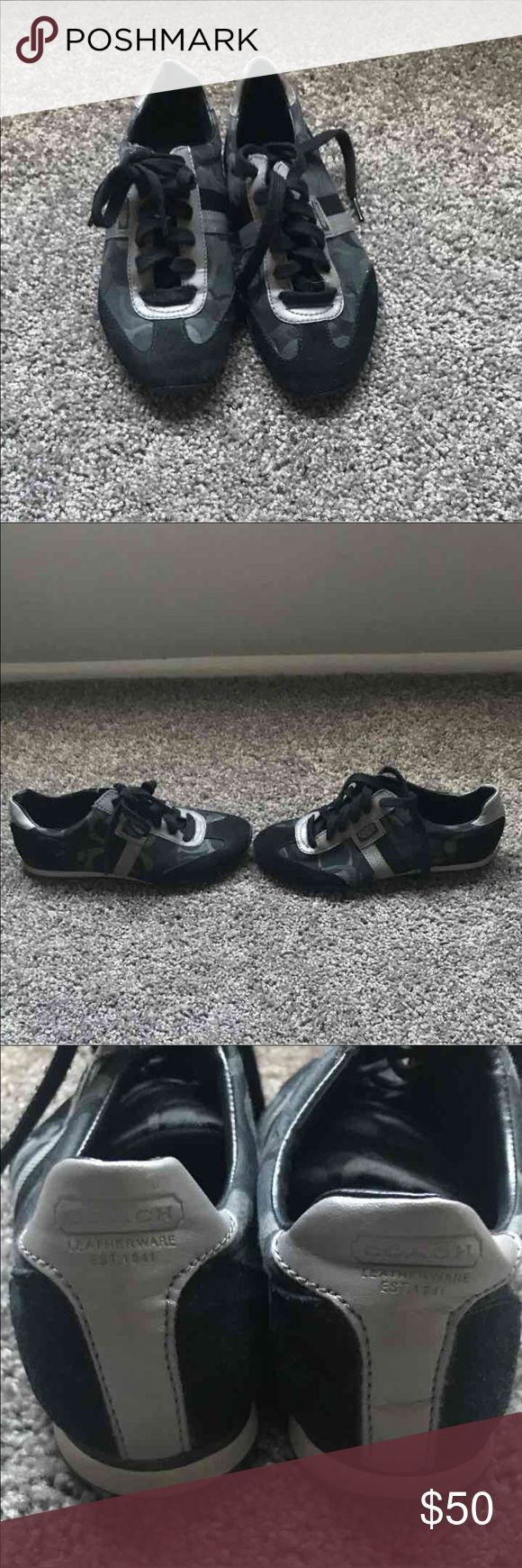 Black/Gray Coach sneakers Very comfortable coach sneakers lightly used. Coach Shoes Sneakers