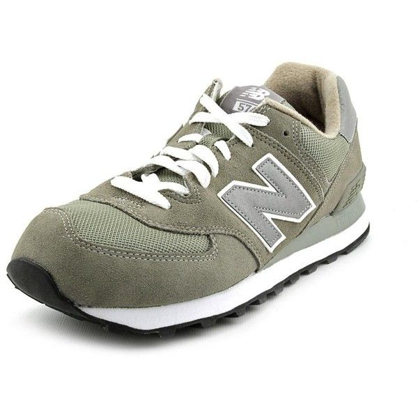 New Balance M574 Mens Athletic Sneakers ($56) ❤ liked on Polyvore featuring shoes, grey, new balance, new balance footwear, breathable shoes, print shoes and grey suede shoes