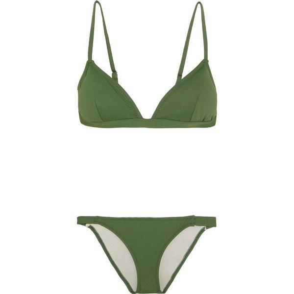 Eberjey So Solid Taylor triangle bikini found on Polyvore featuring swimwear, bikinis, swimsuit, swimsuits bikini, bikini swimsuit, triangle swimsuit, swim bathing suits and swim suits