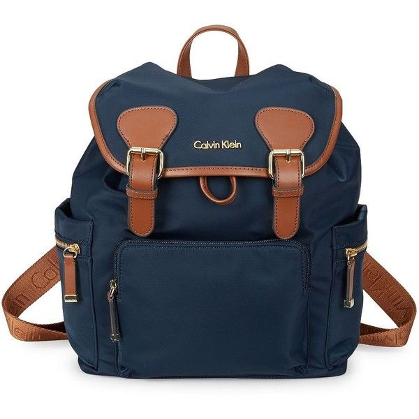 Calvin Klein Logo Drawstring Backpack ($188) ❤ liked on Polyvore featuring bags, backpacks, navy, logo backpack, navy blue backpack, draw string backpack, blue backpack and strap backpack