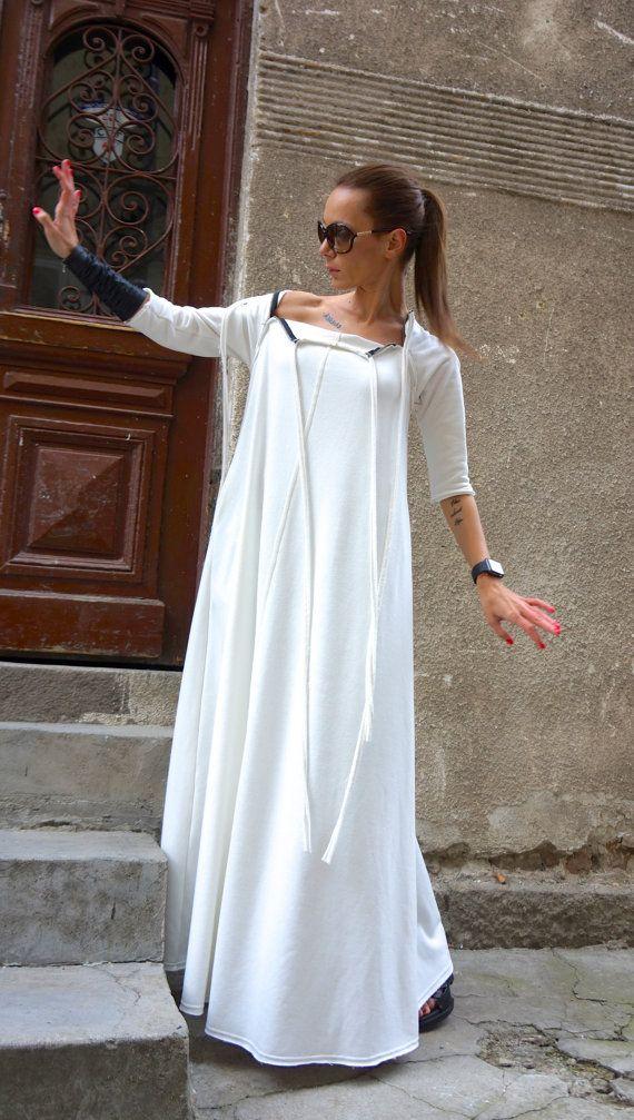 New 2016 Fall Maxi Dress / Off White Kaftan Cotton by Aakasha
