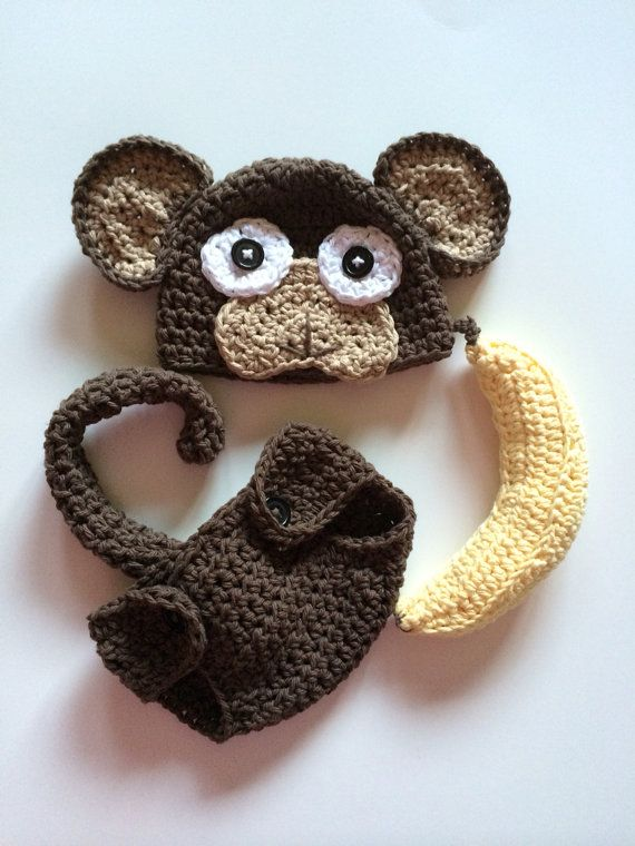 Newborn monkey hat and diaper cover newborn photo by MRocheCrochet
