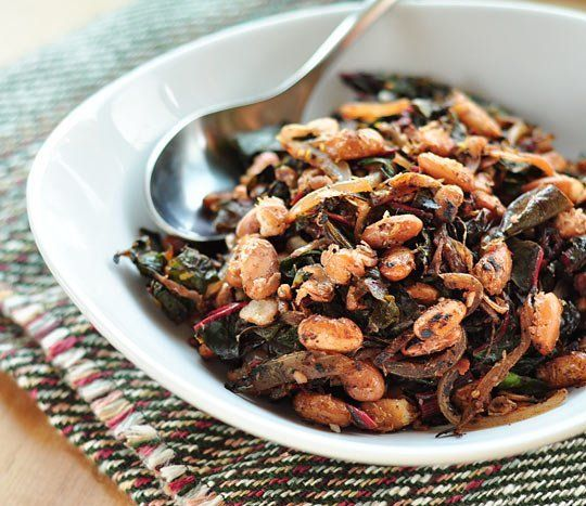 (Use 1 c beans to serve 2) Crispy Pan-Fried Beans with Wilted Greens - Perfect midday meal, or add a scoop of pasta for dinner.