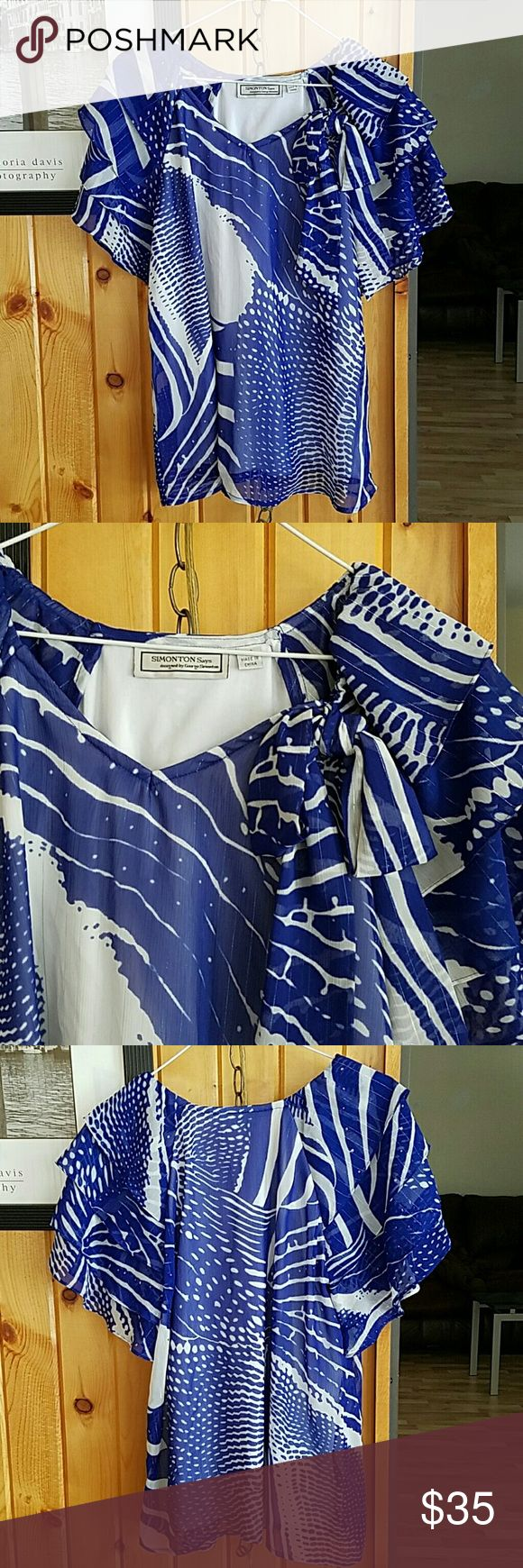 George Simonton blue and white ruffle top George Simonton blue and white ruffle top. Chiffon with metallic threading. Ruffle sleeves.  Roomy and lightweight. Oversized fit. Can fit a small.medium.  Excellent condition. George Simonton Tops Tees - Short Sleeve