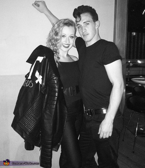 Alexandra: Eric and I are dressed ad Danny and Sandy from Grease for a Halloween party. It was his idea for the costume. For Danny, Eric wore Black shoes, pants, a...