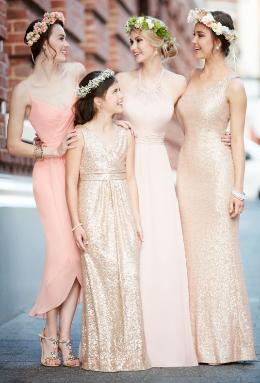 Coral and gold bridesmaids dresses from Sorella Vita make the perfect mix-and-match combination!