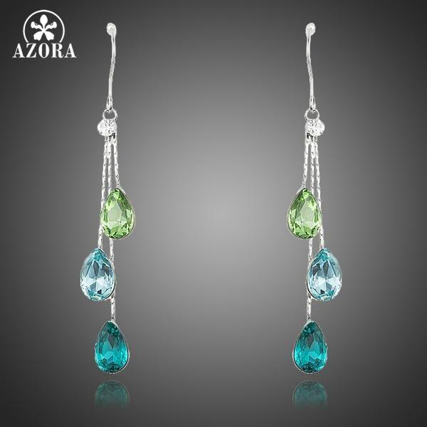 AZORA Elegant Charm Earrings Women Water Drop Stellux Austrian Crystal Dangle Wedding Earrings