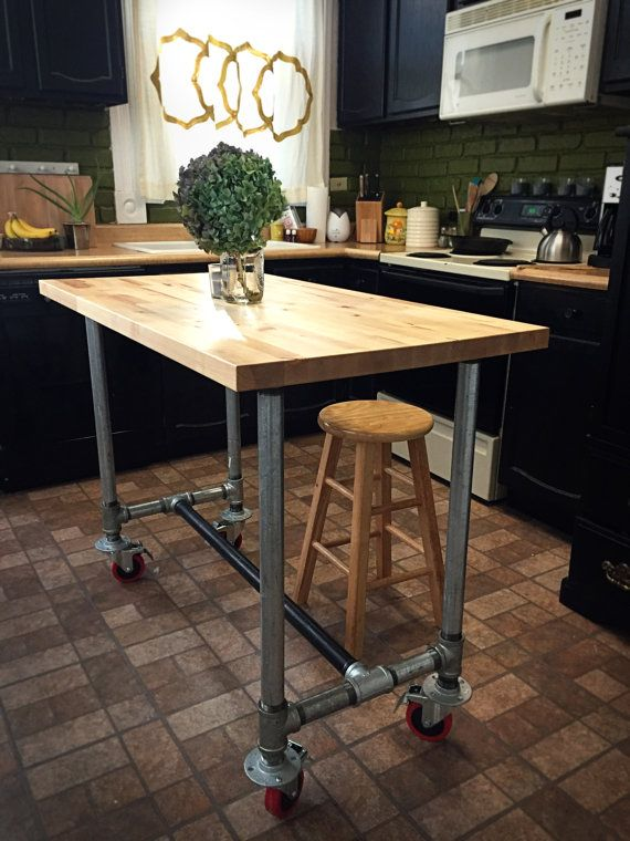 kitchen island butcher block on galvanized pipe with casters