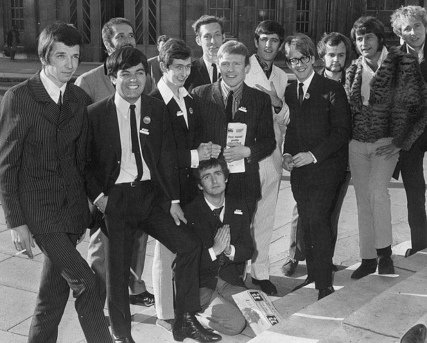 4th September 1967: Ex-pirate radio disc jockeys, lining up to join the BBC. Left to right: - Pete Drummond, Mike Raven, Tony Blackburn, Dave Cash, Chris Denning, Duncan Johnson, Ed Stewart, Mike Ahern, John Peel,  Emperor Rosko, Mike Lennox, and kneeling https://www.fanprint.com/stores/nascar-?ref=5750