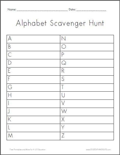 alphabet scavenger hunt worksheet is free to print pdf file this is a fun activity for a. Black Bedroom Furniture Sets. Home Design Ideas