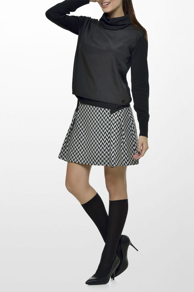 Sarah Lawrence - double layered long sleeve sweater, short printed skirt.