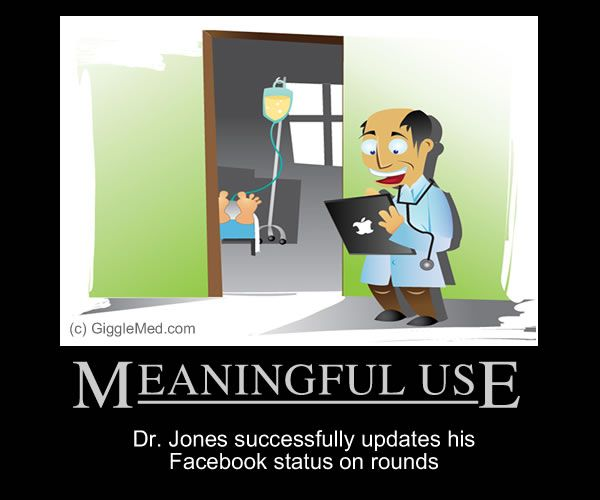 Funny meaningful use comic for anyone in health IT, nursing, or medical practice.  Pinned with permission by GiggleMed.com