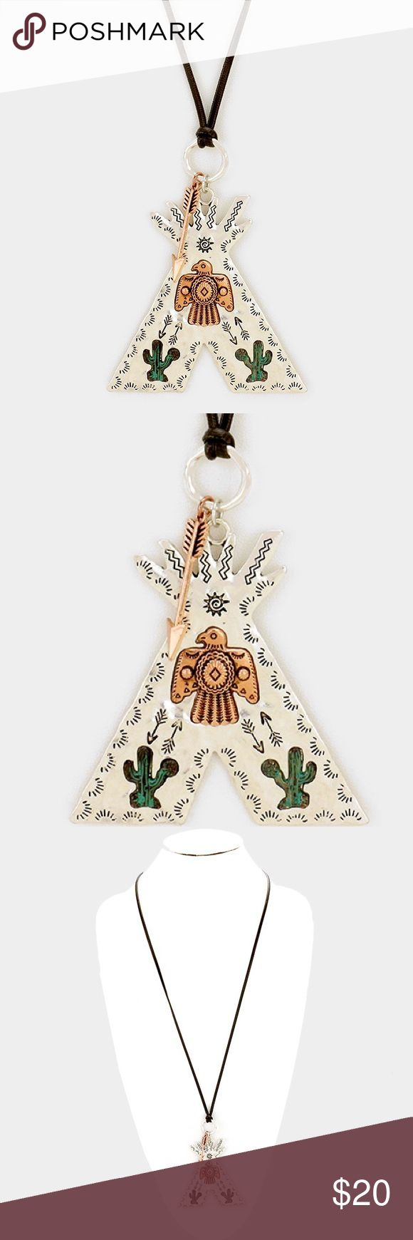 "Aztec Pendant Necklace • Color : Multi • Theme : Animal, Arrow, Cactus  • Necklace Size : 30"" + 3"" L • Pendant Size : 3"" X 3"" • Cactus aztec bird pendant & arrow charm long faux leather necklace Jewelry Necklaces"