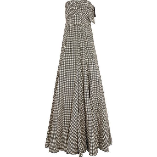 Lanvin Strapless polka-dot cotton-blend gown ($1,940) ❤ liked on Polyvore featuring dresses, gowns, beige, lanvin gown, beige dress, beige evening gown, strapless evening gowns and strapless evening dresses