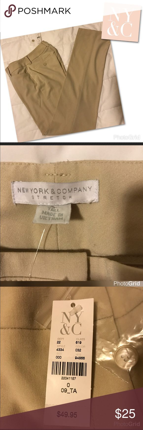 """Women's NEWYORK&COMPANY"""" trousers pants Brand New with tags Women's New York & Company stretch and tall trouser pants made with64%polyester 32%Rayon and 4%spandex. Approximately measurements laying flat Inseam:34"""" Across waist:14""""  Across at hem:8"""". Waist to bottom hem: 43"""" Pet and smoke free home BRAND NEW WITH TAGS New York & Company Pants Trousers"""