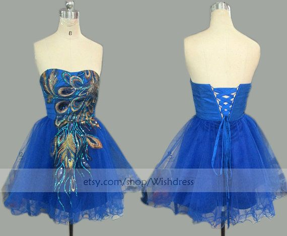 Handmade Peacock Royal Blue Prom Dress/ Peacock Cocktail Dress/ Party Dress/ Peacock Homecoming Dress/ Short Prom Dress from wishdress