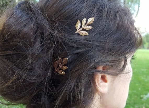 Rose Gold Leaf Bobby Pins, Hair Pins, Woodland Rustic Nature Leaves Wedding Hair Bridal Party Brides