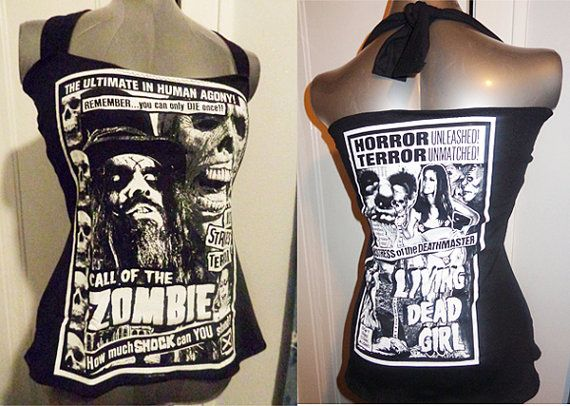 ROB ZOMBIE - handmade DIY halter top band shirt. Great for fans of heavy metal, horror, devils rejects, house of 1000 corpses, sheri moon, halloween, h2, etc.. Handmade just for you to your size!  www.facebook.com/chopshopclothing