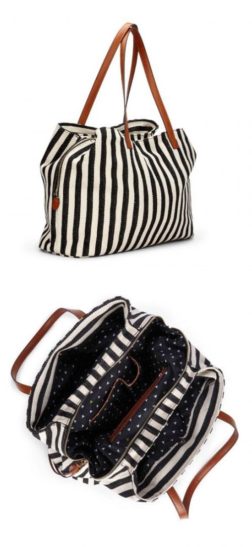Stripes tote- could make a great modern diaper bag one day