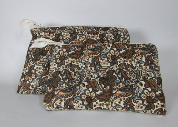 Cosmetic Bags Set of Two Brown Paisley and Swirl Pattern Handmade Makeup Bag Toiletry Bag Zipper Pouch Cosmetic Case