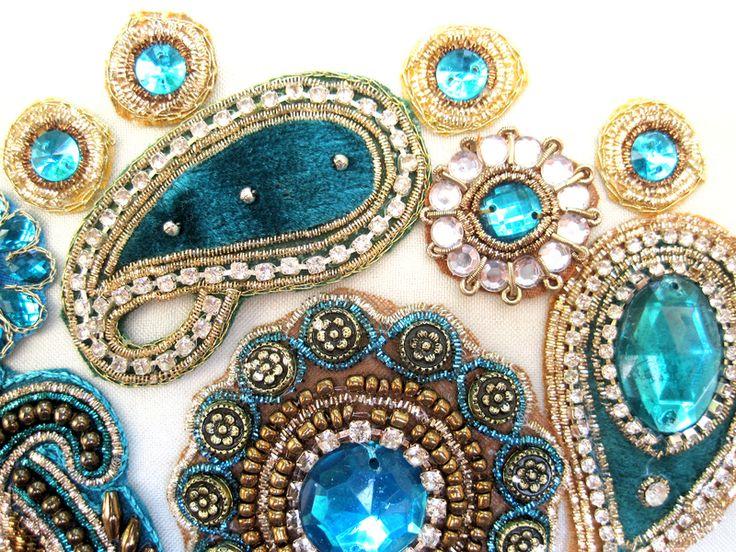 Applikationen Tuerkis-Gold Nr. 27 von MariaSingh auf DaWanda.com